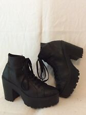 Schuh Black Ankle Leather Boots Size 6