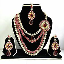 New Necklace Earring Set Head Piece Jewellery Indian Bridal Bollywood Fuschia