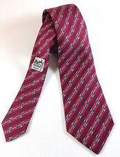 HERMES Silk Necktie Mens Burgundy Striped Belt Pattern 950 IA Made in France