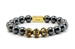 Mens Classic Hematite & Gold Beaded Bracelet-Mens Bracelet-Man Bracelet-24k gold