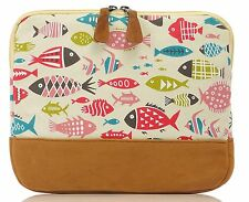 Ladies Mens Unisex iPad Tablet Canvas Zip Around Case Sleeve Bag Holder Beige Fish