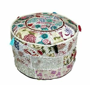 Embroidered ottoman puff cover White Vintage cotton patch work footstool cover