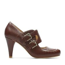 Clarks Ladies Dalia Violet Tan Leather Mary Jane Court Shoes Size UK 5/38 D