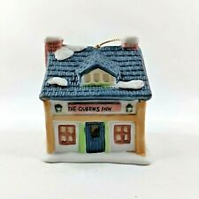 """Readers Digest Hanging Ornament Bell """"The Queens Inn"""" 1991 Cottage House Snow"""
