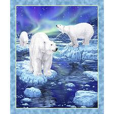 "Quilting Treasures Northern Lights Polar Bear 100% Cotton Fabric 36"" Quilt Panel"