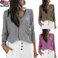 Women Ladies Casual Tops Long Sleeve V Neck Shirt Loose Pocket Kintwear Blouse