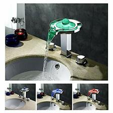 LED Waterfall Colors Changing Bathroom Basin Mixer Sink Faucets (HDD738)