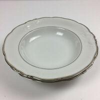 Walbrzych Glory Sauce Bowls Silver Trim White Decorative Porcelain Poland