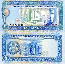Turkmenistan 5 Manat Banknote World Paper Money Unc Currency Pick p2 Bill Note