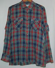 Vintage Saks Fifth Avenue Adolfo Mens 60s Shirt LS Blue Red Green L Hippie Plaid