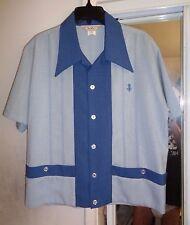 NOS DaVINCI 50s-60s SHIRT JAC! 2 Tone Blue Flecked Cabana 2 Pockets ROCKABILLY L
