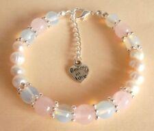 Rose Quartz Opalite Moonstone Gemstone Crystal Healing Fertility Bracelet Gift B