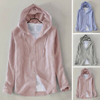 Men's Cotton Linen Pullover T Shirts Casual Hoodie Beach Yoga Long Sleeve Tops