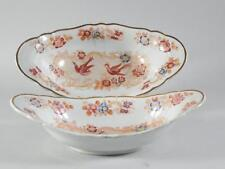 2 Early Porcelain Bird Decorated Oval Bowls / Dishes - Copeland Spode?