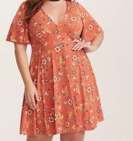 Torrid Orange Floral Print Flutter Sleeve Dress 3X 22 24 #24289