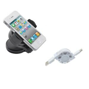 Holder Windshield Car Mount w USB-C Retractable USB Cable for Smartphones