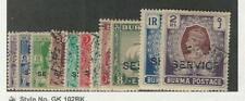 Burma, Postage Stamp, #O15-O25 Used, 1939, JFZ