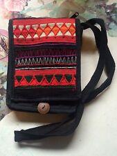 Thai Ethnic Black Small Cotton Shoulder PURSE Travel pouch bag w/ Button Flap
