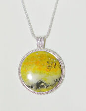 """22"""" Amazing Rare Bumble Bee Agate Necklace In SS Bezel and SS Rope Chain"""