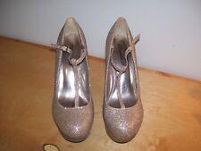 Women's Metallic Gold T Strap Platform Wedge Pump  Breckelle's Shoes US Size 10
