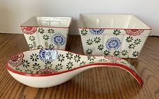 American Atelier 2 Ceramic Fruit Baskets And Spoon Rest