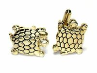 Gold-Tone Mens Cuff Links TURTLE Shaped Cufflinks