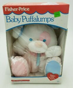 Fisher-Price Baby Puffalumps Vintage 1988 Stuffed Toy Used with Box Wear on Nose