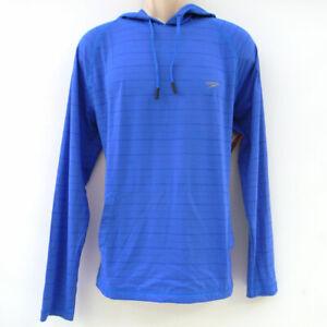 Speedo Men's Long Raglan Sleeve Hooded Swim Shirt Size M Blue Lemonade