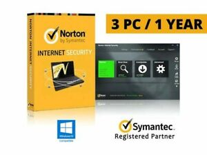 Norton Internet Security Symantec 3PC 1Year License Code Key Win 10 ready