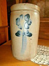 """New listing Original Antique - Blue & Gray - Salt Glazed - Cobalt Trim - Crock - 10"""" Tall"""