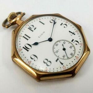 Antique Pocket Watch Elgin 1918 Model 3 Size 12s 15 Jewel Open Face Octagon Case