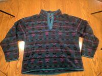 Rare VTG Eddie Bauer XL South Western Aztec Fleece Pullover Half Button