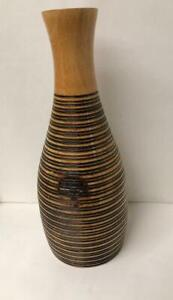 Wooden Vase Hand Classic Carved Thailand Table Flower 15 1/1/4 x 6 1/2