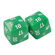 Two 24 Sided Jumbo Polyhedral Green & White Dice Organza Bag