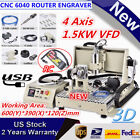 USB 4AXIS CNC 6040Z Router Engraving Wood Drill/Milling Machine 1500W+Controller