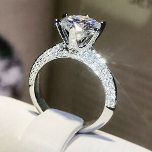 2.78 TCW Round Cut Moissanite Dainty Engagement Ring In 14k White Gold Plated