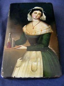 Antique Hand Painted Snuff Box c1850