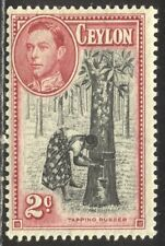Ceylon #278a Mint Nh - 1938 2p Carm Rose & Black, P13 1/2 ($180)