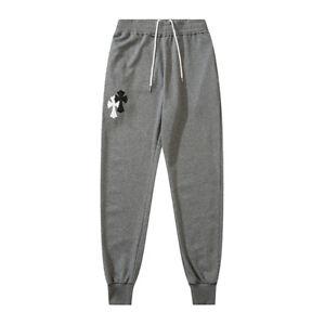 New Italy Pop Style Men's Gym Sports Pants Cross Print Black Sweatpant CH13481W