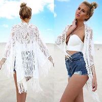 Women Boho Lace Fringe Kimono Bikini Cover Up Beach Swimwear Cardigan Top Blouse