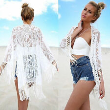 Women Lace Long Sleeve Kimono Cardigan Beach Bikini Cover Up Tassel Tops Blouse