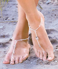 Barefoot Jewelry,Beaded sandals, Glass beads , 2 Choices left :Clear,  or Aqua