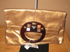 "NWT Alfani ""Sorrento"" Bronze Leather Clutch Handbag"