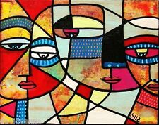 Sandra Silberzweig Abstract Eye Family Face 8 X 10 on Flat 8.5 X 11 inch Canvas