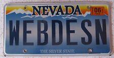 Nevada 2012 VANITY License Plate WEB DESIGN