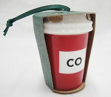 Starbucks Colorado CO  2016 Christmas Ornament Red Mini To Go Cup Ceramic New