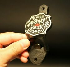 Antique Style Cast Iron Fireman Fire Fighter Wall Mount Bottle Cap Opener
