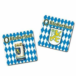 PACK OF 8 OKTOBERFEST DRINK COASTERS PARTY TABLE DECORATION GERMAN BLUE & WHITE
