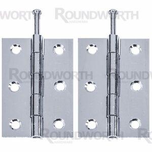 "4 x LOOSE PIN BUTT HINGES 3""/75mm Zinc Butt Door/Cabinet Furniture DIY Hang Set"