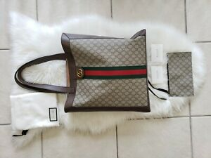 🌺Gucci Ophidia Soft GG Supreme Large Leather Tote Green/Red Strip MSRP $1750